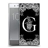 Head Case Designs Oficial Nature Magick Letra G B & W Monogram Flores 1 Carcasa de Gel de Silicona Compatible con Sony Xperia XZ Premium