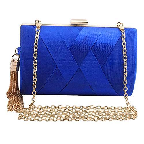 kowaku Bolsa feminina, bolsa de corrente elegante, bolsa de mão, bolsa de noite, festa de casamento, Azul, 20x8x12cm