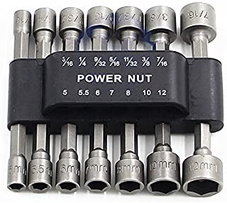 PANOVOS (14pcs) Power Nut Driver Drill Bit Set Metric Socket Wrench Screw 1/4'' Driver Hex