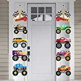 OSNIE Monster Truck Party Decorations Supplies for Kids Boys Checkered Flags Monster Truck Cardboard Cutouts Door Sign Porch Sign Welcome Hanging Banner for Race Car Outdoor Indoor Home Bedroom Décor