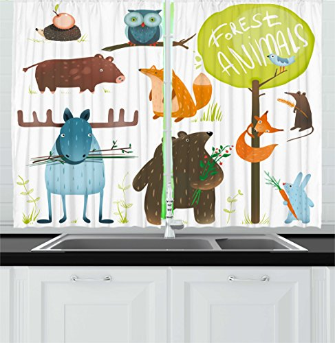 Ambesonne Forest Kitchen Curtains, Cartoon Style Animals Like Bear Deer Fox Owl Pig Mouse Squirrel and Rabbit Print, Window Drapes 2 Panel Set for Kitchen Cafe Decor, 55' X 39', Yellow Green
