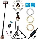 Anillo de Luz LED de 10 Pulgadas, Soporte Triangular y Soporte Doble para teléfono móvil, 3 Modos de Luces 10 Brillos, Aro de Luz para Maquillaje, Fotografía, Youtube, Selfie Video (10')
