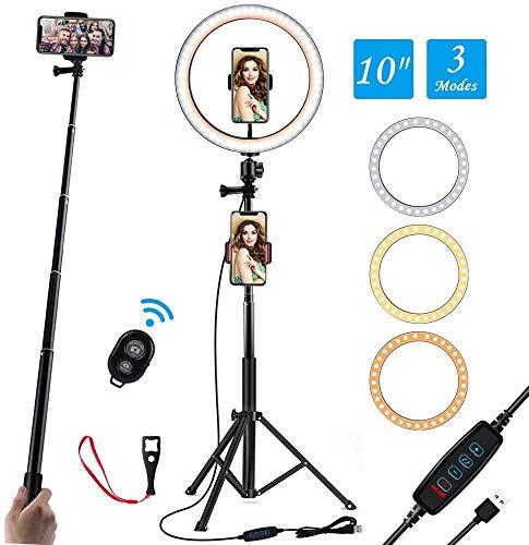 Anillo de Luz LED de 10 Pulgadas, Soporte Triangular y Soporte Doble para teléfono móvil, 3 Modos de Luces 10 Brillos, Aro de Luz para Maquillaje, Fotografía, Youtube, Selfie Video (10