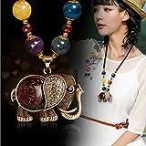 AKOAK Bohemian Long Black Beaded Chain Elephant Pendant Necklace for Women Girls