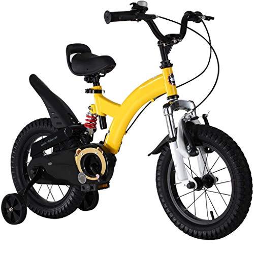 LHAHGLY Bicicleta para niños, 12 14 16 18 Pulgadas con Ruedas de Entrenamiento / niñas de niños de 3 a 9 años de Edad, y roja. ( Color : Yellow , Size : 60cm/23.6in )