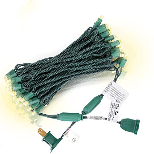LED Christmas Lights 50 Counts, for Outdoor and Indoor, Commercial Grade, Warm White Light, Green Wire, 25ft, UL Listed