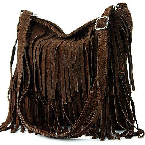 modamoda de - ital bandolera con flecos de gamuza T125, Color:Marrón chocolate