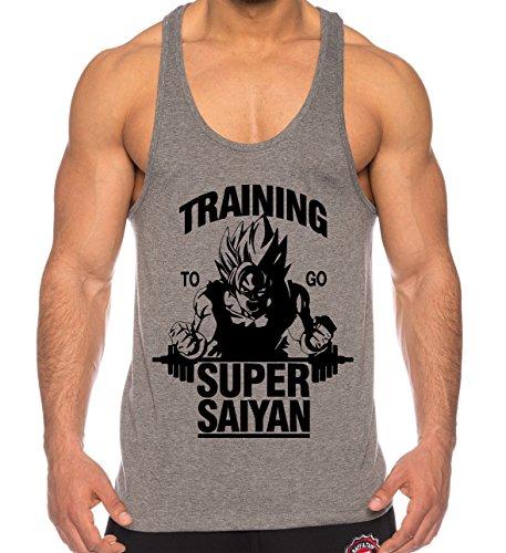 THE LION Goku Super Saiyan de los Hombres Camisa del músculo One Goku Dragon Master Son Ball Vegeta Turtle Roshi Piece Gym, Farbe2:Gris;Größe2:XL