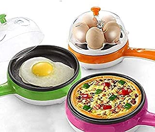 TIMESOON Multifunctional 2 in 1 Electric Egg Boiling Steamer Egg Frying Pan Egg Boiler Electric Automatic off with Egg Boi...
