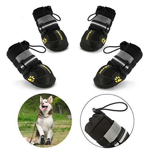 Protective Dog Boots, Set of 4 Waterproof Dog Shoes for Large Dogs, Black (Update#5)