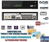 Decoder Satellitare Full HD Compatibile Con Tivusat e Tv Svizzera Italiana S2 DVB-S2 HEVC H265 MAIN 10