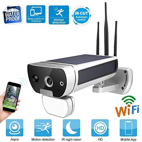 Zonne-IP-camera, 1080p HD outdoor WIFI waterdichte zonnelichtingscamera met bewegingsdetectie, nachtzicht, 2-weg audio, 128 G geheugenkaart camerasysteem voor thuis, kantoor, winkel, enz.