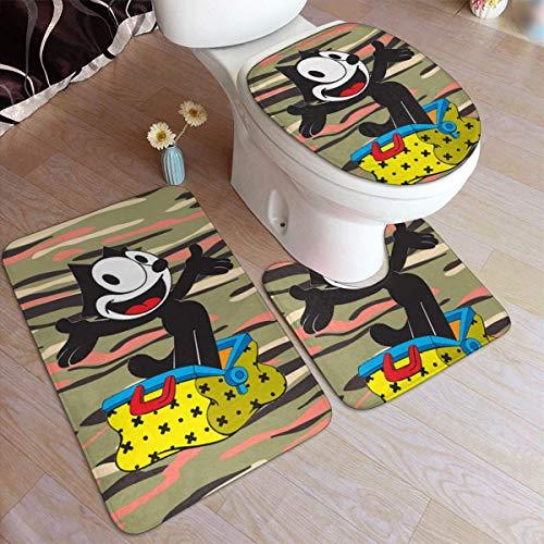haoqianyanbaihuodian Felix The Cat - Juego de 3 alfombrillas de baño antideslizantes para decoración del hogar + alfombrilla de contorno + tapa de inodoro para bañera Sho.