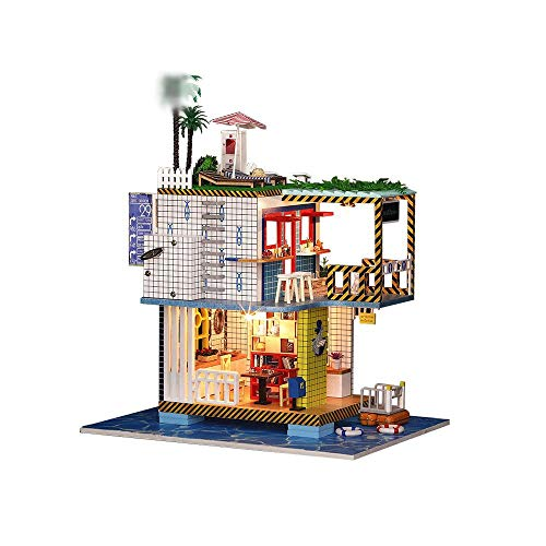 TEYUN A Mano Bricolaje Marina Casa de la Estación de Cabina Modelo arquitectónico de Madera Villa Mini Kits
