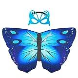 Materiale: queste morbide ali a farfalla sono realizzate in tessuto chiffon di alta qualità, morbide e comode da indossare. Dimensioni: lunghezza 70 cm, larghezza 120 cm, consigliato dai 3 anni in su. Design: spallacci regolabili e cinghie per le dit...