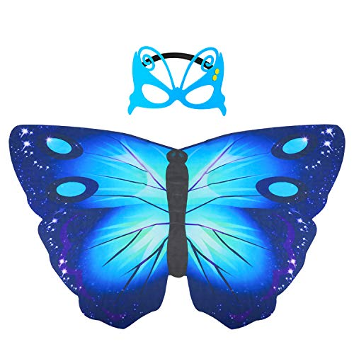 Hifot Dreamy Dance Schmetterling Schal Prinzessin Fee Flügel Schmetterling Flügel Kleid Up Kostüm mit Filzmaske