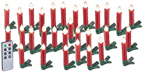 Lunartec LED Christbaumkerzen: 30er-Set LED-Weihnachtsbaum-Kerzen mit IR-Fernbedienung, rot (Christbaumkerzen kabellos)