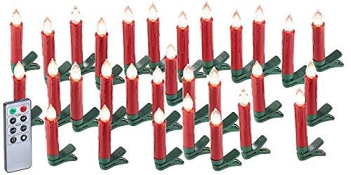 Lunartec Baumkerzen: 30er-Set LED-Weihnachtsbaum-Kerzen mit IR-Fernbedienung, rot (Weihnachtskerzen kabellos)