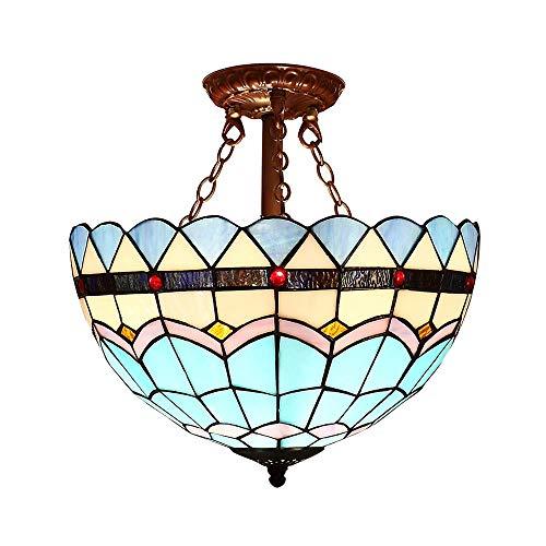 Tiffany Lámpara de techo 12 pulgadas Vitral Pantalla de lámpara Candelabro Araña Azul Estilo mediterraneo Plafones para Dormitorio Foyer Balcón Bar Escalera Pasillo Corredor Cocina Comedor Iluminación