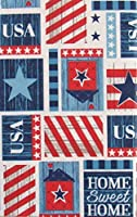 "Home Sweet Home USA Patriotic Patchwork Vinyl Flannel Back Tablecloth (60"" Round) [並行輸入品]"