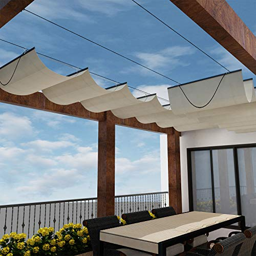 Windscreen4less Retractable Shade Canopy Replacement Cover for Pergola Frame Slide on Wire Cable Wave Drop Shade Cover Shade Sail Awning for Patio Deck Yard Porch Beige 7 ' x 10 '