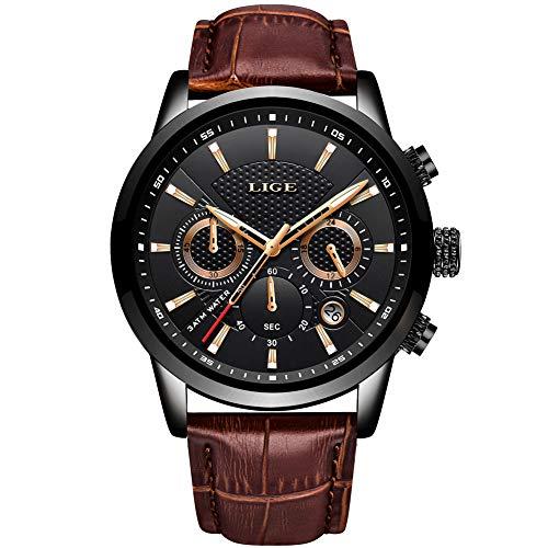 LIGE Horloge Mannen Mode Waterdichte Sport Chronograaf Analoog Kwarts RVS Lederen Horloges Mens Armband Blauwe Wijzerplaat