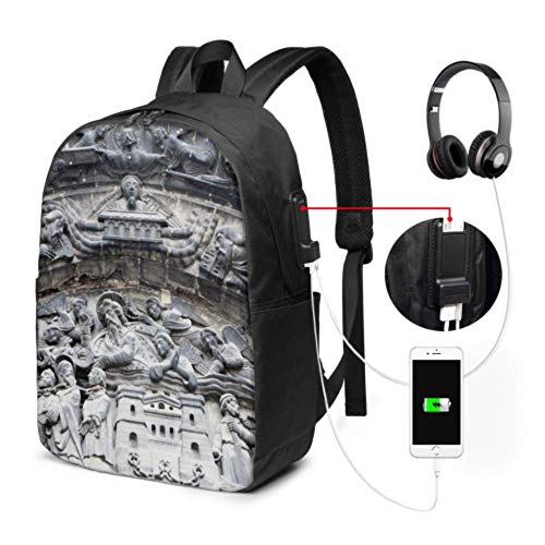 Womens Backpack Great Luminous Saint Denis Church Simple Laptop Backpack with USB Charging Port and Headphone Port for College Work Travel