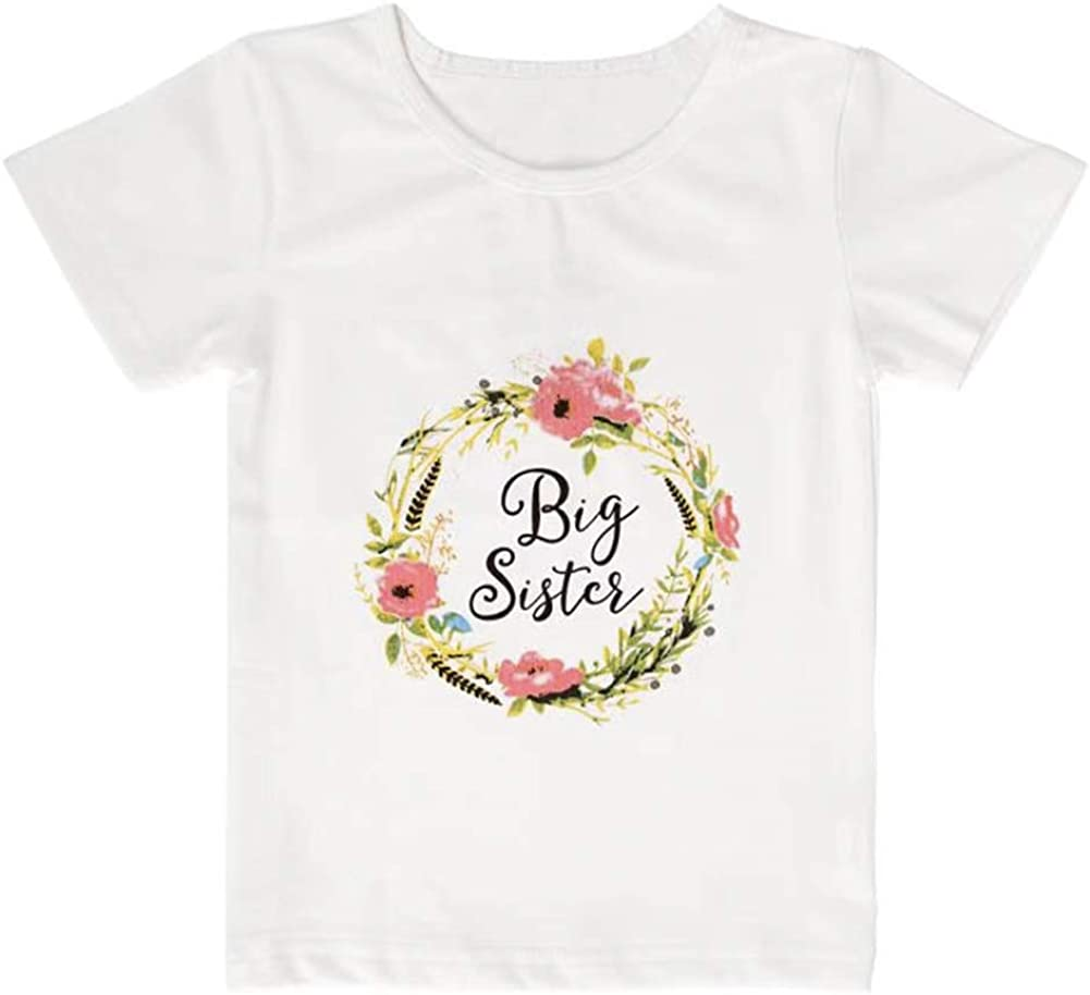 Little Sister Big Sister Matching Outfits Flowers Romper Onesie and Short Sleeved Top Shirt for 0-7Years