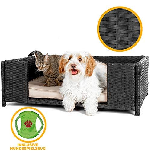weico Hundebett in Rattan-Optik 90 x 60 x 30 cm - gemütliches Katzenbett mit waschbarem Kissen - stabiles Haustierbett für Indoor und Outdoor in schwarz