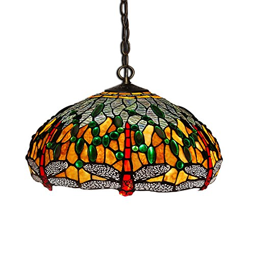 World Art TW60277 Lampes Style Tiffany Lustre libellule, 90x41x41 Cm
