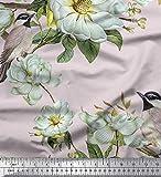 Soimoi Rosa Samt Stoff Blätter, Weiße Blumen & Vogel