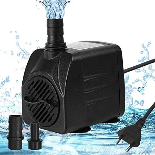 flintronic Aquariumpumpe Aquarium Pumpe, 16W Wasserpumpe, 800L/H Tauchpumpe Teich Brunnen Pumpe Widersteht Trockenes, Garten Keine Geräusch für Teich Brunnen, mit 2 Düsen 13/16mm 16W Kabel 1.4m