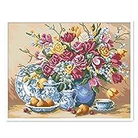 クロスステッチキットDIY刺繍セット 美しい花瓶50x40cm 図柄印刷 初心者 ホームの装飾 風景 刺繍糸 針 ホームの装飾
