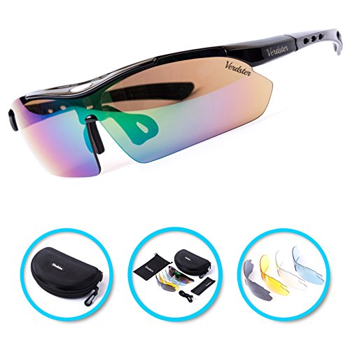 Verdster TourDePro Polarized Cycling Sport Sunglasses For Men and Women 5 Lenses, Sporty Shades