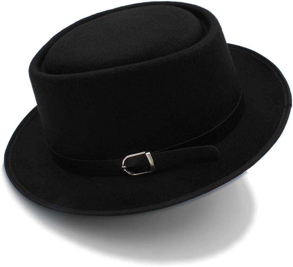 L.W.SUSL Mens Fedora Wide Brim Classic Winter Black Male Pork Pie Hat Felt Hats Top Hats