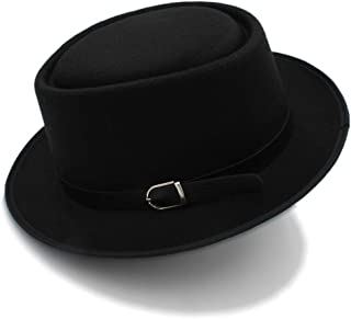 61360ad788d84 GeorgeB- Mens Fedora Hat Wide Brim Classic Hat Winter Black Male Pork Pie Hat  Felt