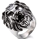 OIDEA Stainless Steel Bikers Gothic Lion Head Ring Band,Hypoallergenic,Size 10