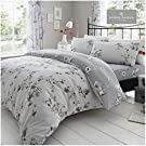 Gaveno Cavailia Luxury BIRDIE BLOSSOM Bed Set with Duvet Cover and Pillow Case, Polyester-Cotton, Grey, Single