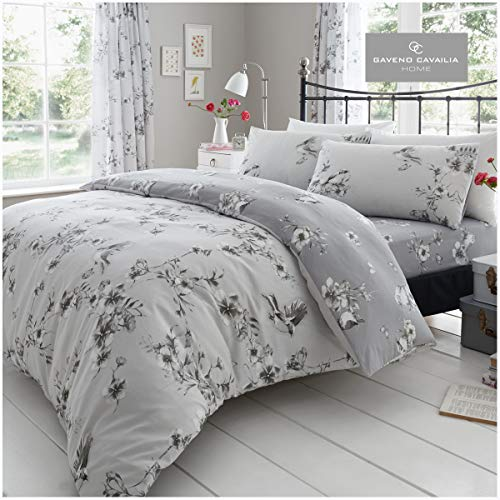 Gaveno Cavailia Luxury BIRDIE BLOSSOM Bed Set with Duvet Cover and Pillow Case, Polyester-Cotton, Grey, Double
