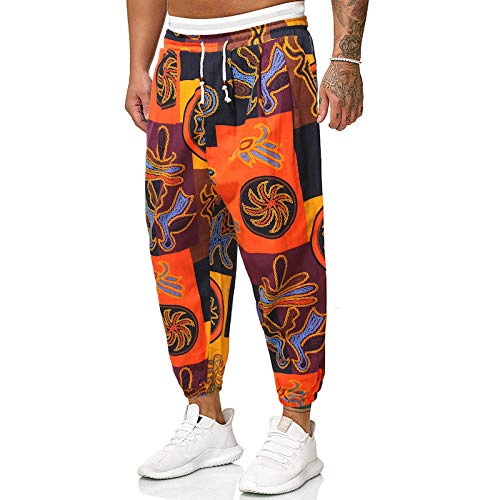 Pantalones Harem Informales para Hombre, Estilo étnico, Estampado Retro, Pantalones Holgados de piernas Anchas con cordón, Cintura elástica y pies con viga 3X-Large
