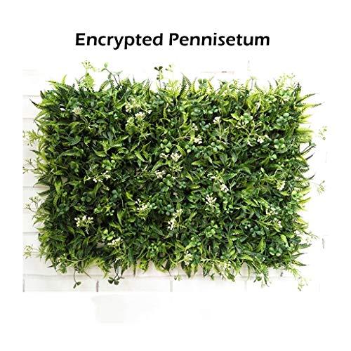 PING- Künstliche grün Buchsbaum Hecke Panels, 2 Rasentypen 60x40cm / Spanhaufen 7cm Hoch UV-Schutz Zaun Bildschirm Begrünungstafel Mit Kabelbinder Außendekoration (Color : B, Size : 16Pack)