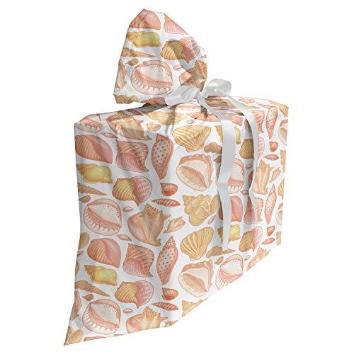 ABAKUHAUS shells Cadeautas voor Baby Shower Feestje, Coffee Bean Shell, Herbruikbare Stoffen Tas met 3 Linten, 70 cm x 80 cm, Zalm Koraal en Mosterd