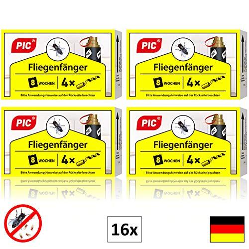 PIC - 16 Stück - Fliegenfänger - umweltfreundlich und giftfrei - Inklusive Reißnagel zum Aufhängen - bewährtes Mittel gegen Fliegen