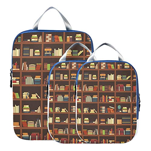 3 Piece Packing Travel Organizer Cubes Set Old Library Bookshelf Best Suitcase Organizer Bags Set