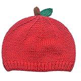 [Y-BOA] ベビーハット ニットキャップ ニット帽子 毛糸帽 りんご型 可愛い 赤ちゃん 幼児 キッズ 女の子 男の子 秋冬 防寒 防風 お出かけ 出産祝い レッド