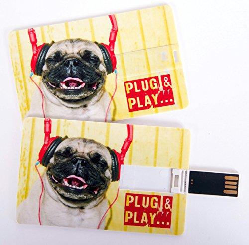 Witziger USB Stick im Visitenkartenformat, Scheckkarte, Kreditkarte, 4 GB, witziger Mops mit Kopfhörern Plug & Play, ideal als Datenspeicher oder Geschenk