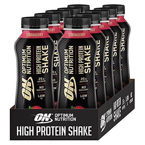 Optimum Nutrition ON High Protein Shake, Flüssiges Eiweiß Shake, Bereit zu Trinken, Fettarmer Protein Snack ohne Zuckerzusatz, Strawberry, 1er Pack, 10x330 ml