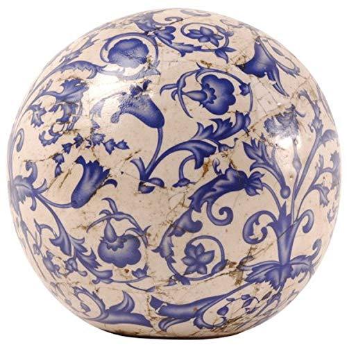 Esschert Design Aged Ceramic 12cm Dekokugel, weiß, blau, 12,7 x 12,7 x 12,5 cm