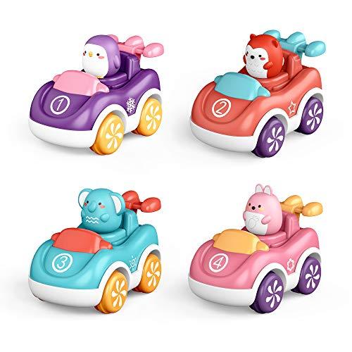 nicknack Coches de Juguete para niños pequeños, 4 Piezas de Juguetes de Coche con Motor de fricción para Empujar y Llevar, Regalos para niños, niñas