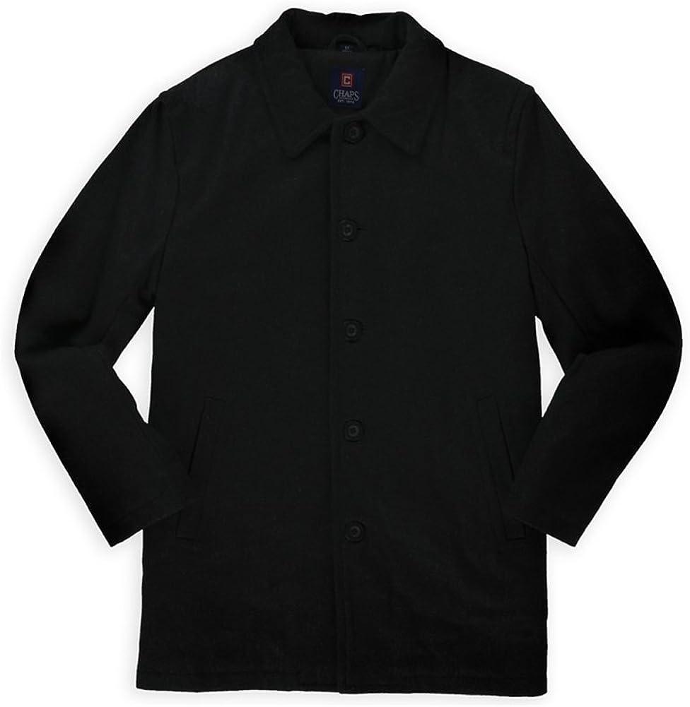 Chaps Mens Car Pea Coat, Black, Small